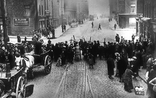 Dublin streets barricaded by British soldiers during the 1916 Easter Rising.