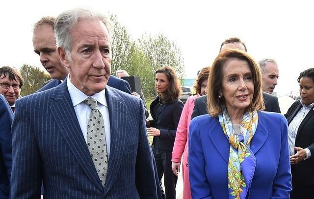 Representative Richie Neal and Speaker of the House Nancy Pelosi during their visit to the Northern Irish border earlier this year.