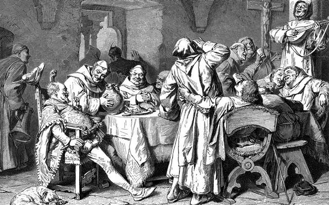 An illustration from the 19th century of monks feasting.