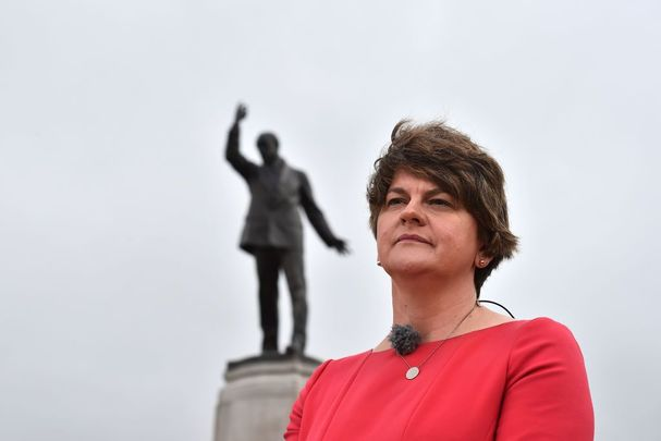 DUP leader Arlene Foster conducts a television interview prior to the arrival of Prime Minister Boris Johnson at Stormont on July 31, 2019, in Belfast, Northern Ireland.