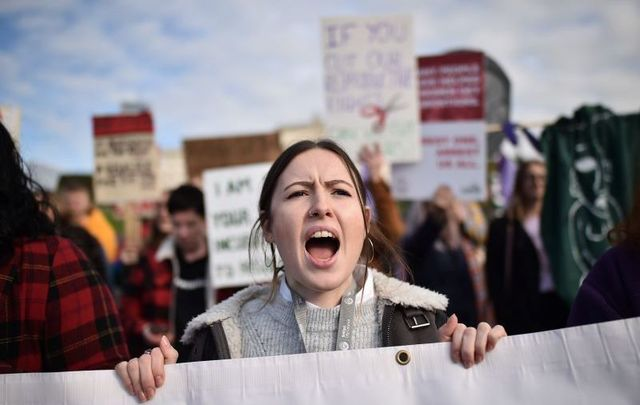 Pro-choice activists demonstrated at Stormont in Northern Ireland on October 21 ahead of the official decriminalization.