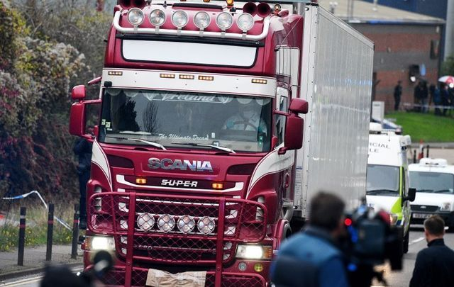 A Northern Irish lorry driver has been arrested after 39 bodies were discovered in the back of his truck.