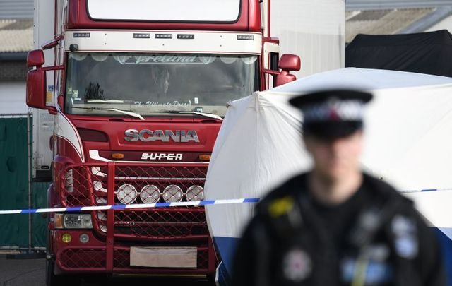 Two people have been arrested on charges of manslaughter and conspiracy to traffic in relation to the UK lorry deaths.