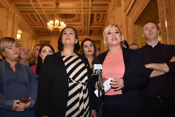 Mary Lou McDonald, Leader of Sinn Féin (center, L) and Michelle O\'Neill, Vice President of Sinn Féin (center, R) speak after a meeting of the Stormont Assembly on abortion rights and gay marriage on October 21, 2019, in Belfast.