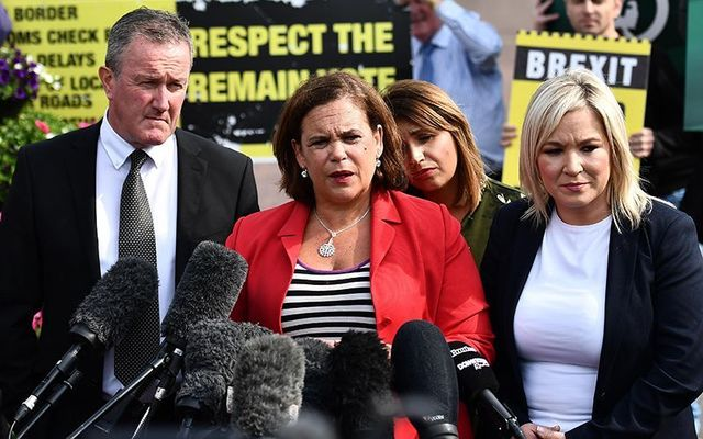 President of Sinn Fein Mary Lou McDonald and Deputy leader Michelle O\'Neill.