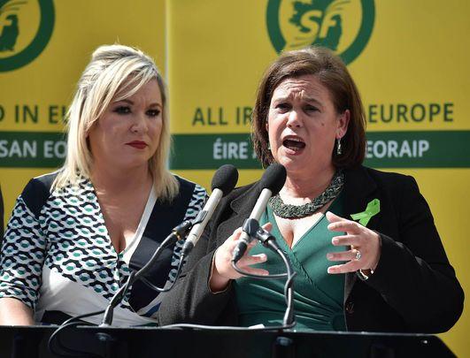 Sinn Féin\'s Deputy Leader Michelle O\'Neill and party President Mary Lou McDonald.
