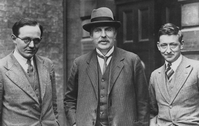L to R. Dr. Ernest Walton (1903 - 1995), Lord Rutherford (1871 - 1937), Nobel prizewinner for chemistry (1908) and Dr. John Cockcroft (1897 -1967) who have split the atom. Cockcroft and Walton later won the Nobel prize for physics (1951) for their work.\n