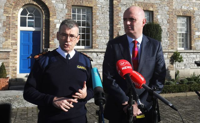 Garda Commissioner Drew Harris and PSNI Assistant Chief Constable Mark Hamilton photographed outside the Gardai headquarters, in Phoenix Park, Dublin.
