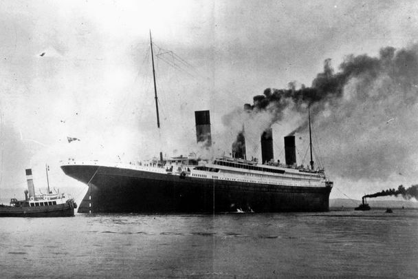 Circa 1912: The luxury White Star liner Titanic, which sank on its maiden voyage to America in 1912, seen here on trials in Belfast Lough.