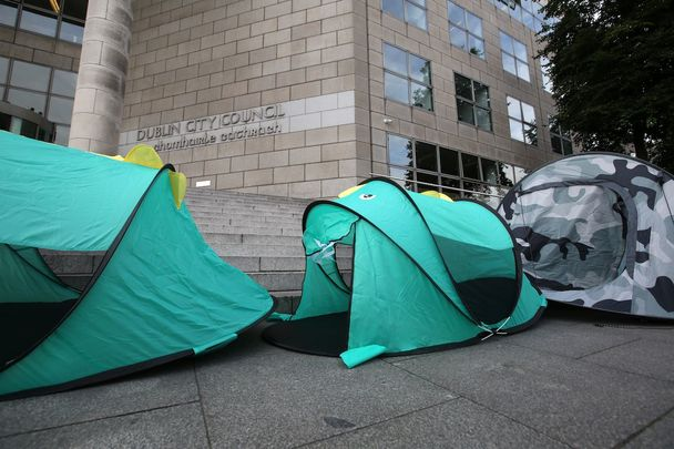 As over 10,000 people in Ireland are now homeless, protests are held outside Dublin City Council over lack of provisions and planning.