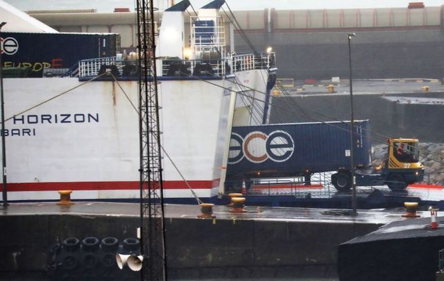 The scene at Rosslare Port in Co Wexford after a group of Kurdish migrants were discovered in a Stena Line ship.