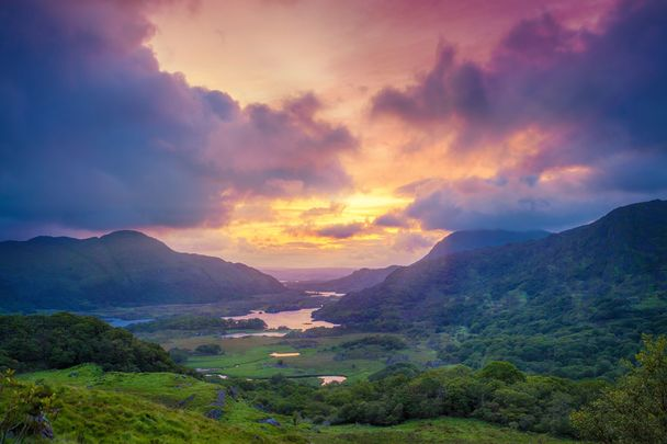 Ladies View is a scenic point along the N71 portion of the Ring of Kerry, in Killarney National Park, Ireland.\n