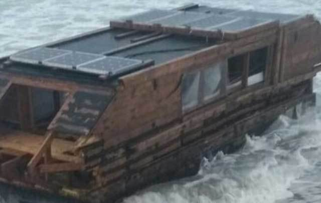 The mysterious houseboat that washed up on Drum beach in 2016.