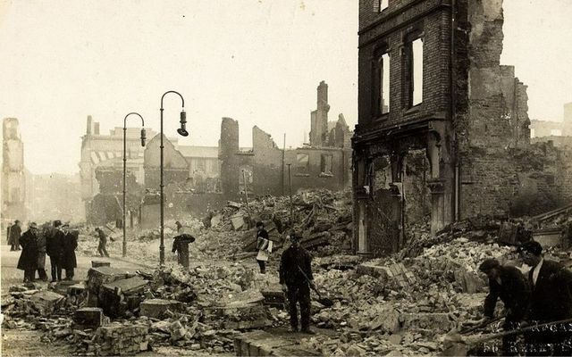 The rubble in Cork City following the attack.