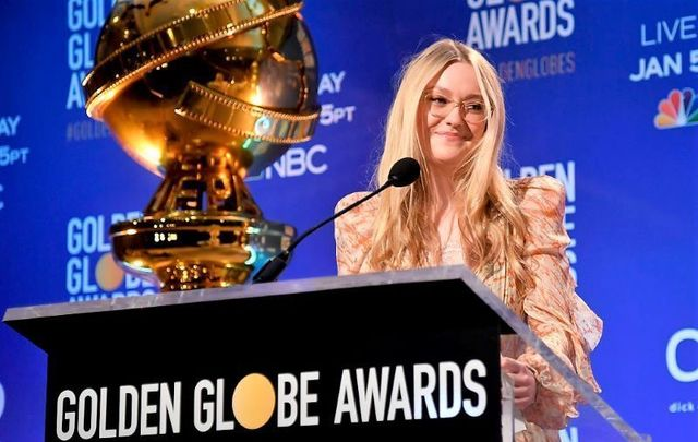 Actress Dakota Fanning presenting the Golden Globe nominations on December 9, 2019.