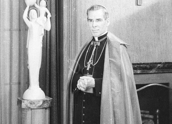TV priest, Father Fulton Sheen, on set.