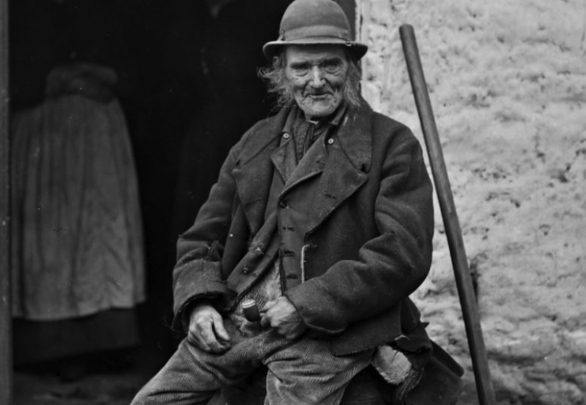 "From the Irish Famine Exhibition: ""A 19th century Kerry peasant\""."