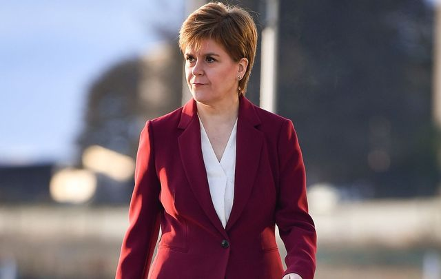 Scottish Nationalist Party leader Nicola Sturgeon en route to her interview with BBC\'s Andrew Marr.