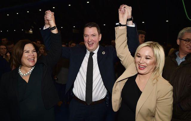 Mary-Lou McDonald, John Finucane and Michelle O\'Neill of Sinn Féin.