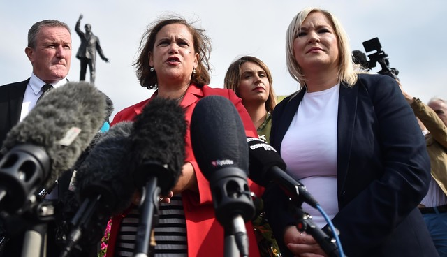 Sinn Fein President Mary Lou McDonald and Deputy Leader Michelle O\'Neill speaking outside Stormont during Brexit protests.