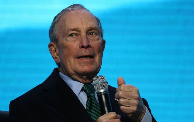 Democratic presidential candidate former New York City mayor Michael Bloomberg speaks during a discussion about climate change with former California Gov. Jerry Brown during the American Geophysical Union Conference on December 11, 2019, in San Francisco, California. Democratic presidential candidate Michael Bloomberg is campaigning in California.