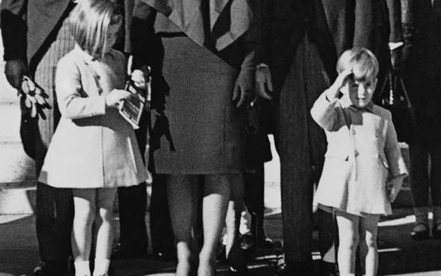 Cropped photo shows John F. Kennedy Jr salute as his father\'s casket goes past on November 25, 1963.