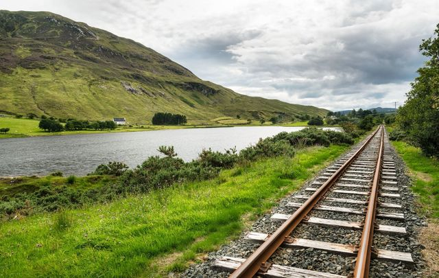 These are old railway tracks beside Lough Finn in Donegal, Ireland. \n