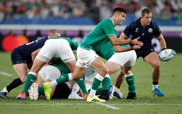 Ireland player Conor Murray in action during the Rugby World Cup 2019 Group A game between Ireland and Scotland on September 22, 2019, in Japan.