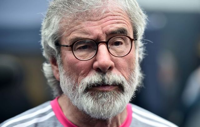 Former Sinn Féin President Gerry Adams holds a press conference as he visits a community center in the New Lodge area on August 10, 2019, in Belfast, Northern Ireland.