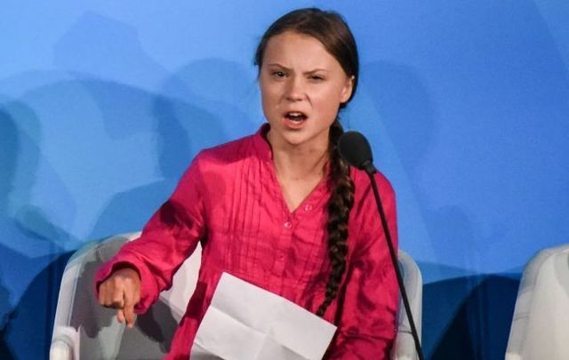 Youth activist Greta Thunberg speaks at the Climate Action Summit at the United Nations on September 23, 2019, in New York City.
