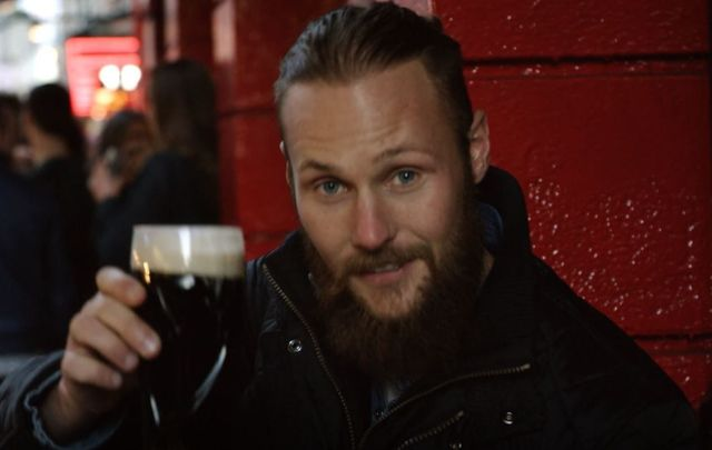 The Vikings\' Jordan Patrick Smith having a pint in Temple Bar