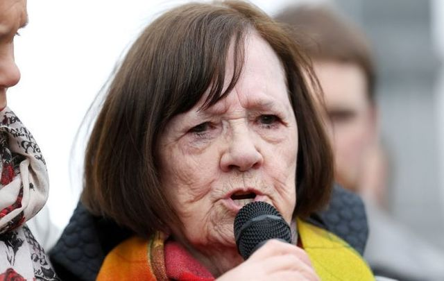Mary Merritt speaking at a Flowers for Magdalene event in Dublin\'s Glasnevin Cemetery in 2017.