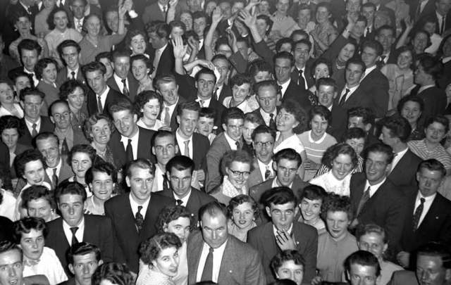 A crowd of people enjoying the evening at Galtymore Dance Hall in Cricklewood.