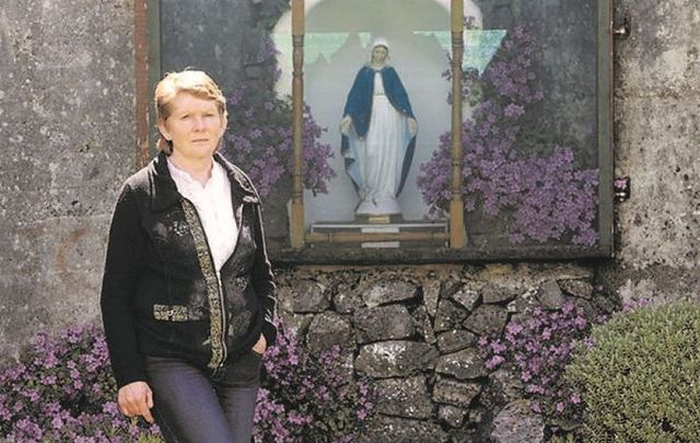 Catherine Corless at the shrine at the Tuam Mother and Baby Home site in Co Galway