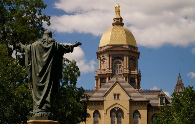 "The University of Notre Dame, the campus of the ""Fighting Irish.\"""