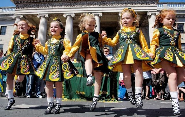 Members of Saul School Irish Dancing performing in Dublin
