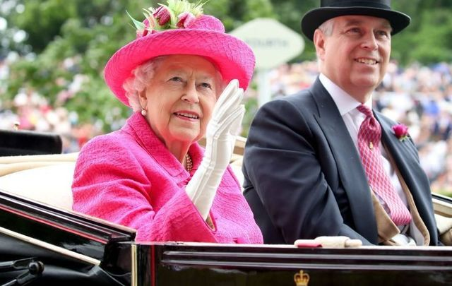 Her Royal Majesty Queen Elizabeth II and Prince Andrew.