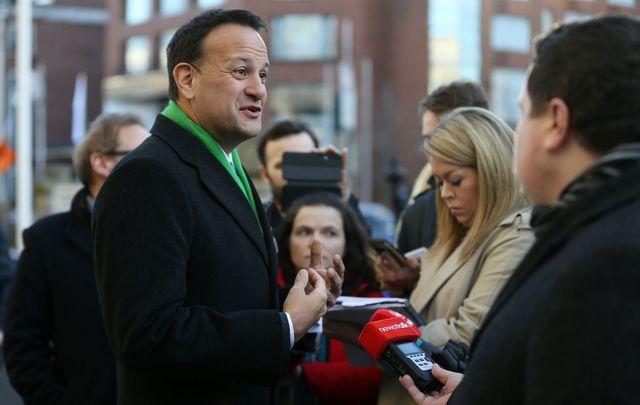 The current Irish leader, Fianna Gael head Leo Varadkar on the General Election 2020 campaign trail.
