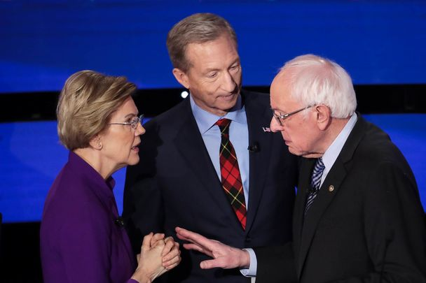 Democrat candidate Elizabeth Warren and Bernie Saunders go head to head, literally.