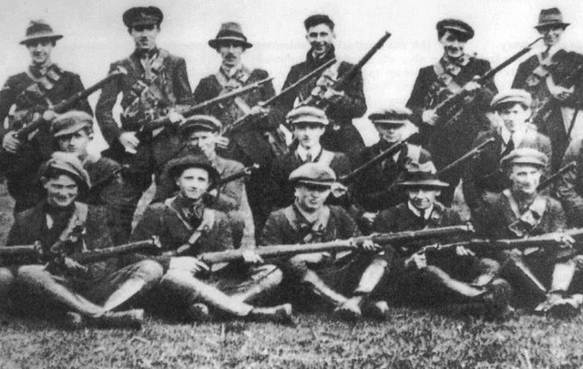 Seán Hogan\'s flying column of the Irish Republican Army\'s third Tipperary Brigade photographed during the War of Independence.