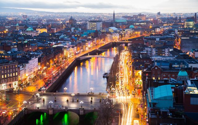 A view of Dublin city, one of Europe\'s top destinations, at dusk