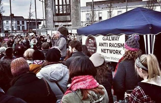 An anti-racism rally in Galway\'s Eyre Square.
