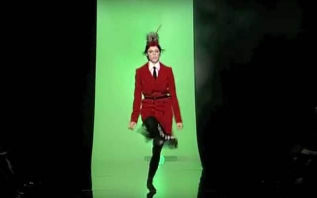 Model Coco Rocha in a snapshot of her dancing down the runway at Jean Paul Gaultier's 2007 show.