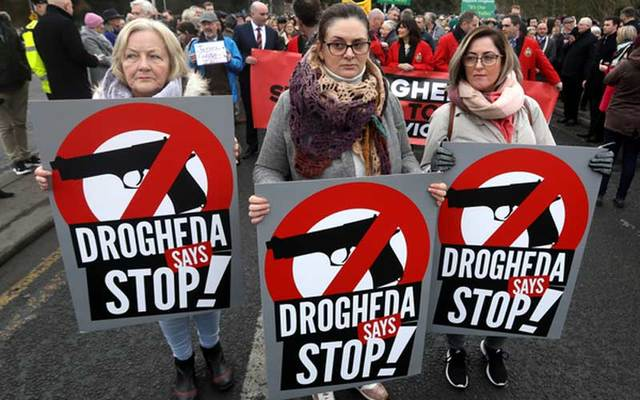 Women at the protest against violence in Drogheda.