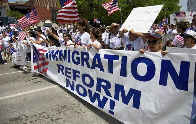 Immigrants and their supporters at a Washington DC march for immigration reform.
