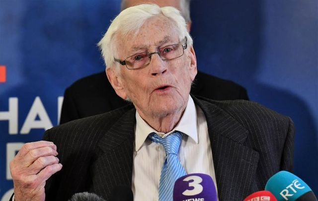 Seamus Mallon, former deputy First Minister of Northern Ireland, at an event to mark the 20th anniversary of the Good Friday Agreement at Queen\'s University in Belfast on April 10, 2018