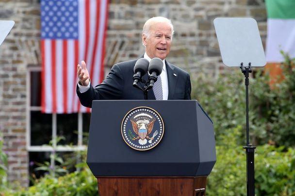 Vice president Joe Biden speaking at Dublin Castle, in 2016.