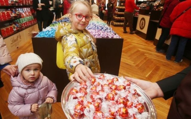 Young Irish children at a Lindt chocolate store in Kildare.