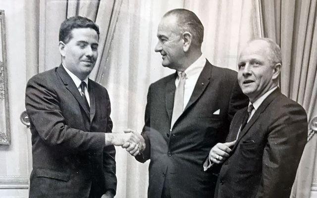 John Feerick (left) with President Lyndon Johnson and Congressman Richard Paff at the passage of the 25th amendment ceremony.