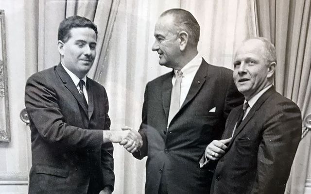 John Feerick (left) with President Lyndon Johnson and Congressman Richard Paff at the passage of the 25th amendment ceremony.